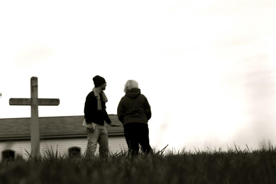 Lauralee Farrer and cinematographer Jordan McMahon in the graveyard