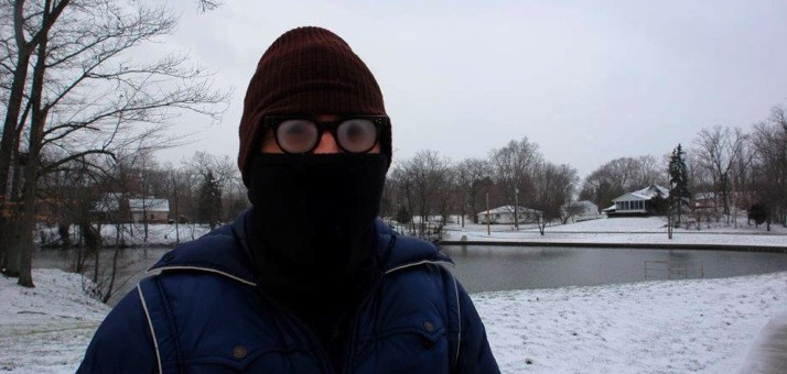 Jordan McMahon in the cold Indiana