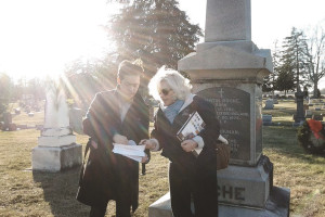 Lauralee and Chris in the graveyard for Praying the Hours
