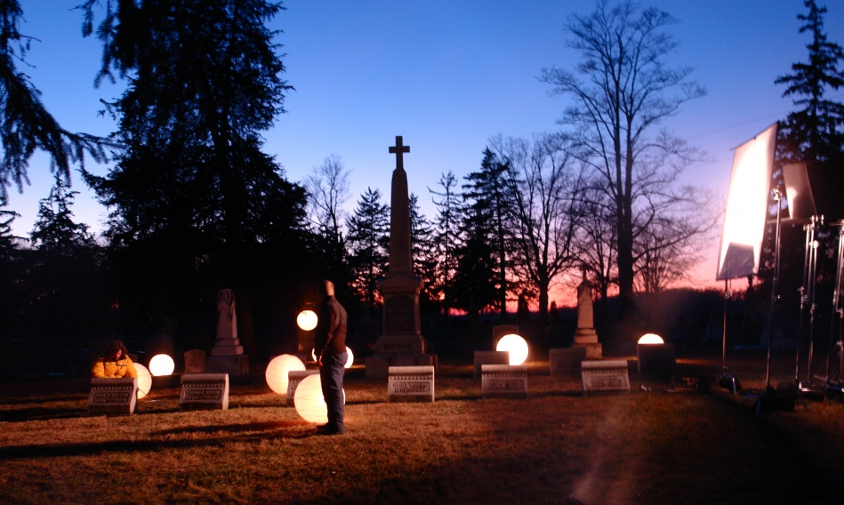 """filming """"compline"""" in the cemetary at dusk"""