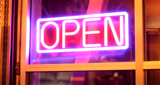 neon open sign at duddery None